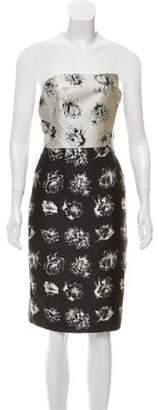 Lela Rose Strapless Brocade Dress Black Strapless Brocade Dress