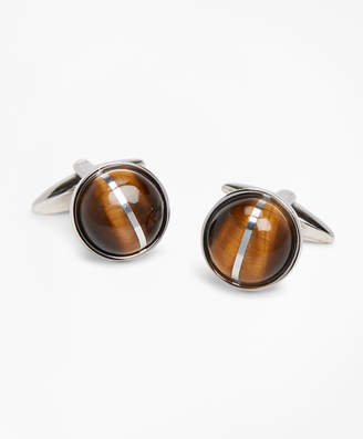 Brooks Brothers Tiger's-Eye Round Cuff Links
