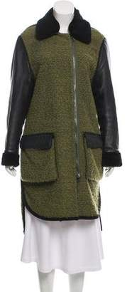 3.1 Phillip Lim Lamb Leather Trim Shearling Coat