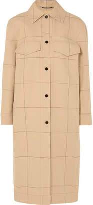 By Malene Birger Keiko Checked Cotton And Linen-blend Canvas Trench Coat - Beige