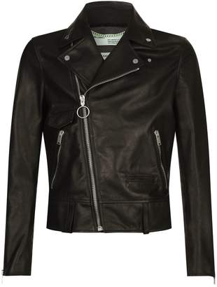 Off-White Off White Printed Leather Biker Jacket