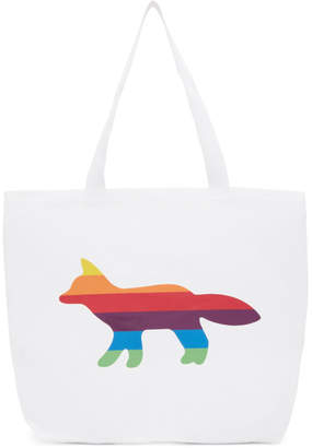 MAISON KITSUNÉ SSENSE Exclusive White Rainbow Fox Tote