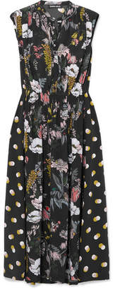 Markus Lupfer Isla Printed Silk Crepe De Chine Midi Dress - Black