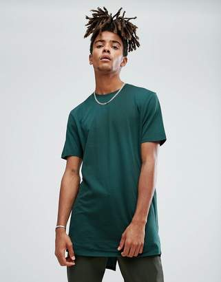 Asos DESIGN Super Longline T-shirt With Fish Tail Split Hem In Green