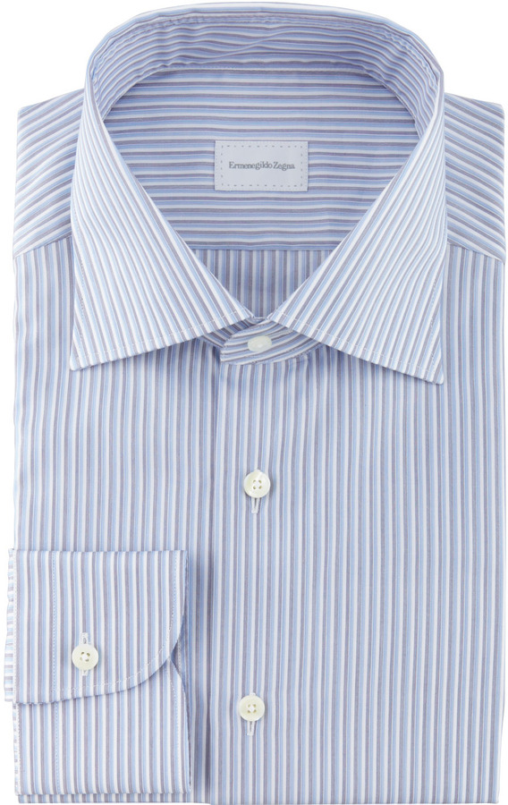 Ermenegildo Zegna Tonal Striped Dress Shirt, Blue/Charcoal/White