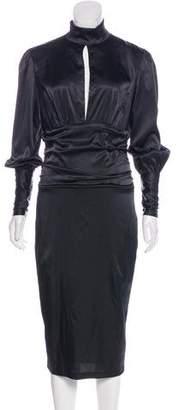 Thierry Mugler Silk Satin Long Sleeve Dress
