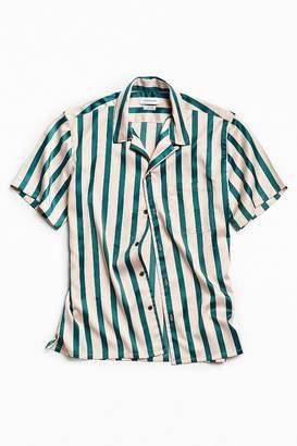 Urban Outfitters Liam Satin Short Sleeve Button-Down Shirt