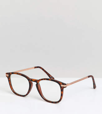 clear Asos Design ASOS DESIGN square glasses in matte tort with gold metal detail & lens