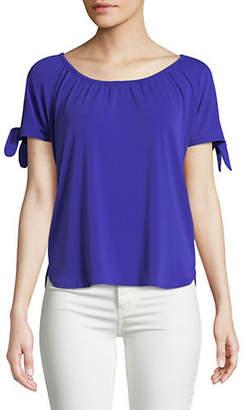 INC International Concepts Petite Tie Short-Sleeve Top