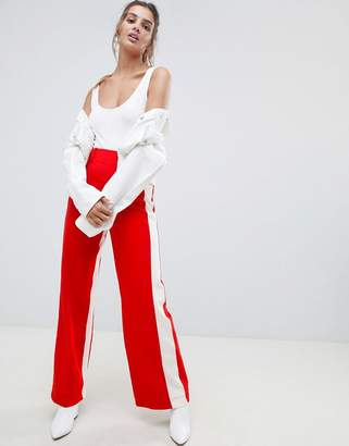 Bershka wide leg pant with side stripe in red