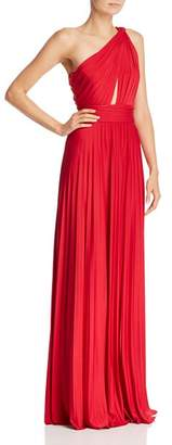 Jill Stuart Pleated One-Shoulder Gown