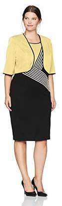 Maya Brooke Women's Size Zig Zag Striped Jacket Dress Plus