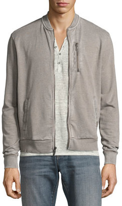 John Varvatos Star USA French Terry Zip-Front Track Jacket, Light Gray $148 thestylecure.com