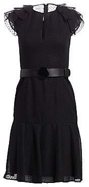 Akris Punto Women's Fil Coupe Tiered Ruffle Cap Sleeve A-Line Dress