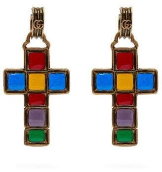 Gucci Enamelled Cross Earrings - Womens - Multi