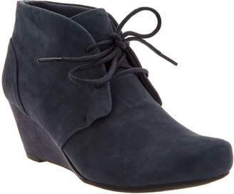Clarks Suede Lace-up Wedge Ankle Boots - Flores Rose