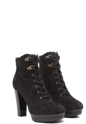 Hogan Heeled Lace-up Suede Ankle Boots