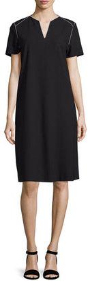 Lafayette 148 New York Ezra Contrast-Piped Short-Sleeve Dress, Black $398 thestylecure.com