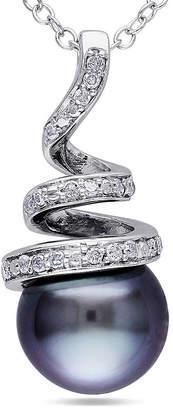 FINE JEWELRY 1/10 CT. T.W. Diamond & Black Tahitian Pearl Sterling Silver Pendant