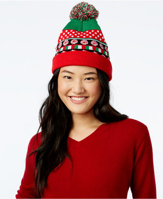 Planet Gold Juniors' Light-Up Candy Cane Beanie Hat $24 thestylecure.com