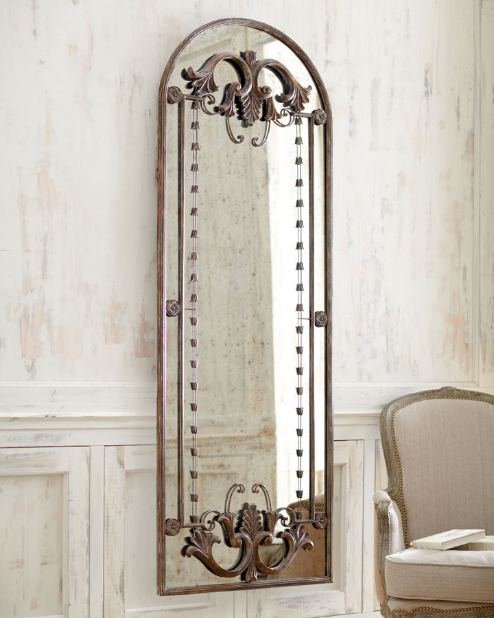 Antiqued Door-Frame Mirror