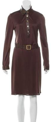 Gucci Leather-Accented Silk Dress