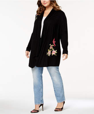 INC International Concepts I.n.c. Plus Size Embroidered Cardigan, Created for Macy's