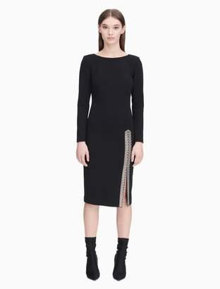 Calvin Klein embellished slit long sleeve sheath dress