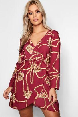 boohoo Plus Chain Printed Wrap Dress