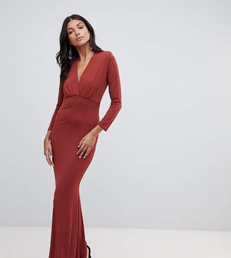 John Zack Tall plunge front maxi dress with fishtail in rust