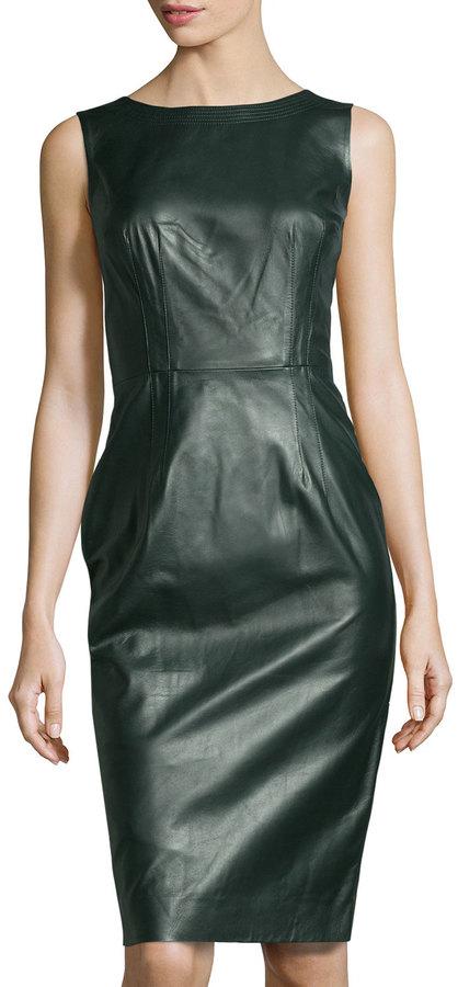 Oscar de la Renta Jewel-Neck Leather Dress, Bottle Green