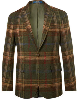 Polo Ralph Lauren Morgan Slim-Fit Suede-Trimmed Checked Wool Blazer