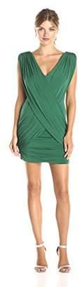 BCBGMAXAZRIA Women's Alondra Ruched V-Neck Dress