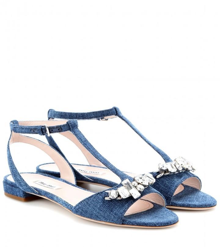 Miu Miu Crystal-embellished denim sandals