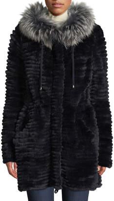 Belle Fare Reversible Knit & Fur Jacket w/ Trim