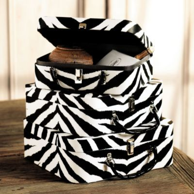 Set of 3 Zebra Stripe Trunks