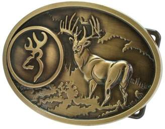 Hunter Buckle Rage Buck Deer Hunting Bow Western Belt Buckle, BRONZE, 253