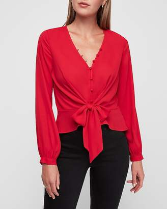 Express Tie Front Button-Up Peplum Shirt