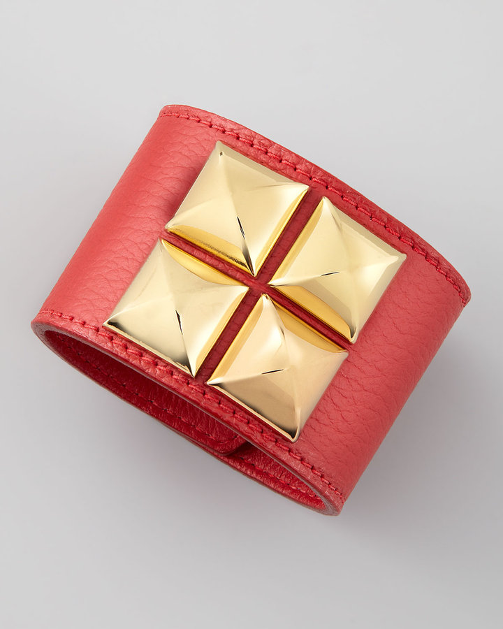 Oscar de la Renta Leather Pyramid Cuff, Ruby