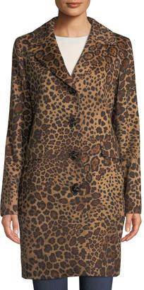 Sofia Cashmere Leopard-Print Button-Down Coat