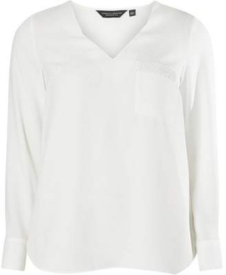 Dorothy Perkins Womens Ivory Embellished Pocket Long Sleeve Top