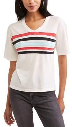 No Comment Women's V-Neck T-Shirt with Chest Stripes