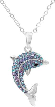 Hue Sterling Silver Crystal Dolphin Pendant Necklace