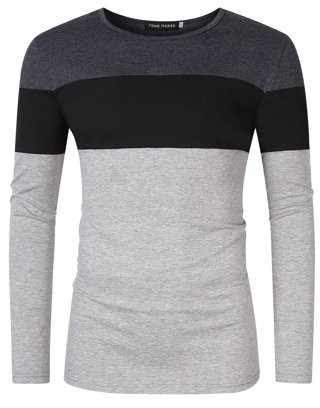 Glowsol Men's Color Block Slim Fit Crew Neck Long Sleeve Basic T-Shirt Dark Grey-Black-Light Grey XL