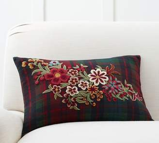Pottery Barn Floral Plaid Embroidered Pillow Cover
