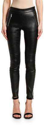 Alexander McQueen Houndstooth-Striped Stretch-Leather Leggings
