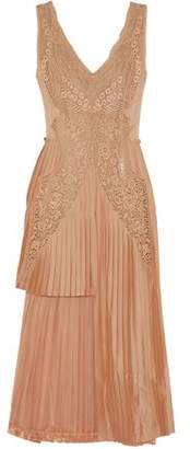Stella McCartney Marcelle Asymmetric Pleated Guipure Lace And Satin Midi Dress