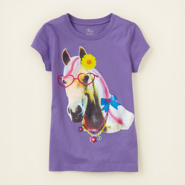 Children's Place Horse in glasses graphic tee