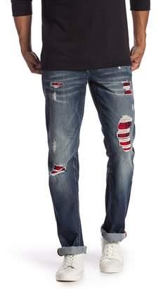 True Religion Plaid Lining Straight Jeans