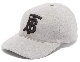 Burberry Embroidered Monogram Cotton Jersey Cap - Mens - Grey